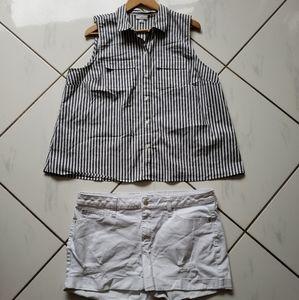 J Jill & ANA 💜 Outfit Stripes Top White Shorts